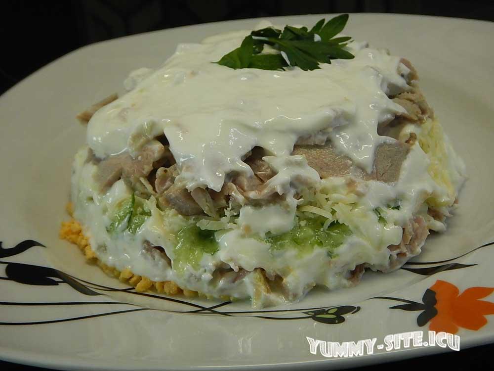 салат со свининой и сметаной