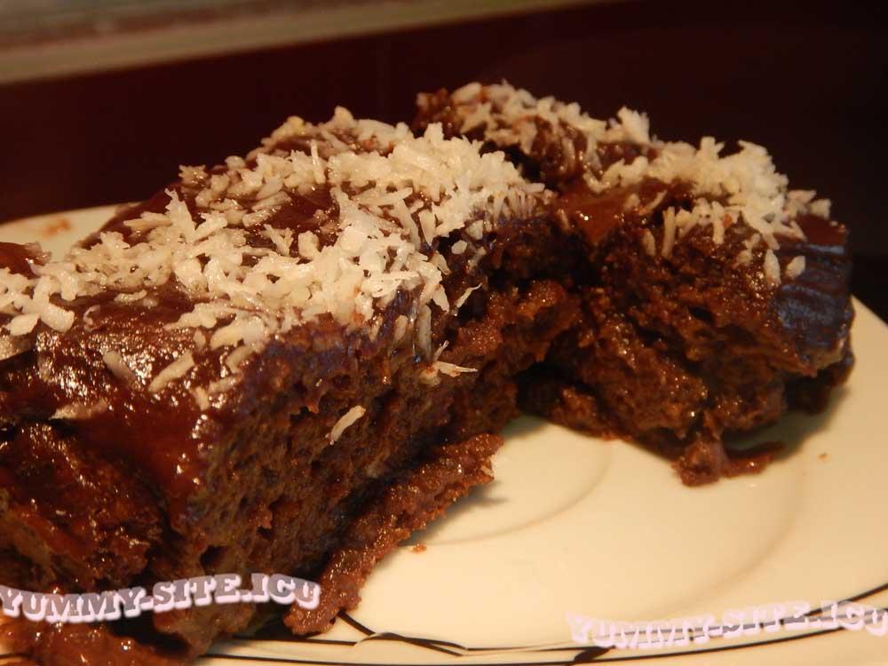 шоколадные пирожные с кокосовой стружкой