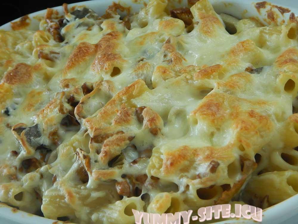 Макароны с сыром и грибами