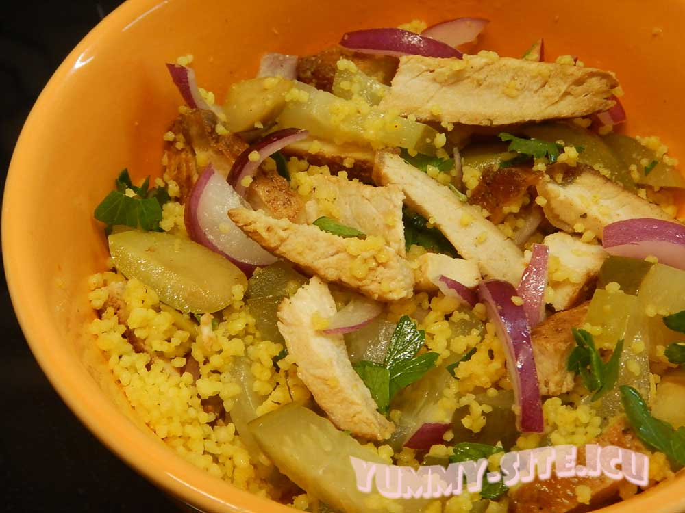 Салат с кус-кусом и свининой