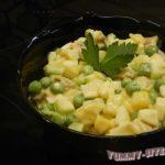 Сытный салат со свининой и домашним майонезом