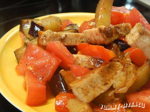 салат из баклажанов с мясом