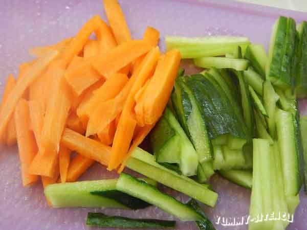 огурец и морковь